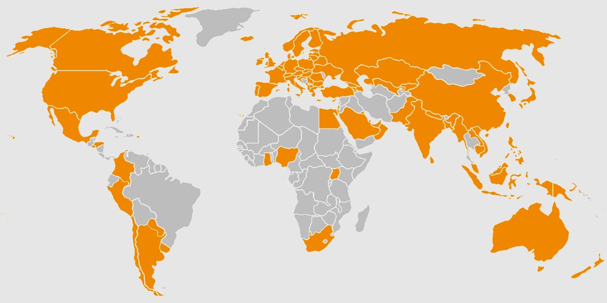 世界98ヵ国対応。(2020年3月現在)
